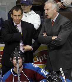 The Colorado Avalanche announced Thursday that assistant coach Tony Granato, left, would be replacing former coach Joel Quenneville, right, as the team's head coach.