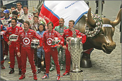 The IndyCar drivers, shown at an appearance on Wall Street this week, lack the popularity of their NASCAR brethren right now.