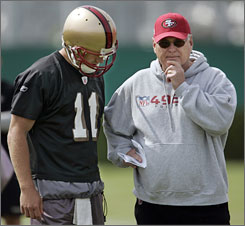 """Mike Martz, right, will be the fourth offensive coordinator to coach Alex Smith in the quarterback's four seasons in San Francisco. Says head coach Mike Nolan, """"There's no one more creative as far as using personnel in a way that allows us to be productive on offense."""""""