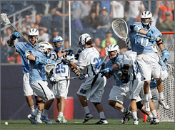 It was Johns Hopkins' turn to celebrate after again breaking Duke's heart with a one-goal victory.