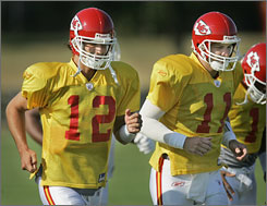 The Chiefs did not acquire a quarterback in the offseason, so Brodie Croyle, left, enters camp as the likely starter. If he falters, veteran Damon Huard is the probable stopgap.
