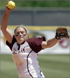Texas A&M's Megan Gibson went 38-1 as a pitcher with a 0.98 ERA and led the Aggies in home runs with 13.