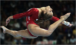 American gymnast Alicia Sacramone competes at the 2007 world championships. Sacramore begins her quest to make her first Olympic team next week at the Visa Championships.