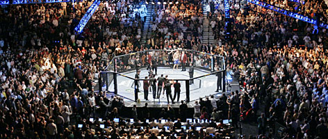 "Fans are on their feet before Chuck Liddell's UFC fight against Quinton ""Rampage"" Jackson on May 26,2007, at the MGM Grand in Las Vegas."