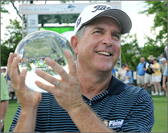 Jay Haas again had his hands on a winner's trophy after his victory on Sunday.