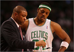 Bolstered by the offseason acquisitions of Kevin Garnett and Ray Allen, Doc Rivers and Paul Pierce have helped lead the Celtics back to the NBA Finals for the first time since 1987. If the Boston squad wins the title, Rivers will be the first African-American coach to do so since 1986.