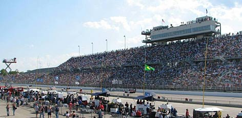 Fans jam-pack the frontstretch grandstand for the ABC Supply/A.J. Foyt 225 at The Milwaukee Mile, the traditional site of the first race after the Indy 500.