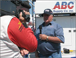 A.J. Foyt gives the command to fire engines before his namesake race.