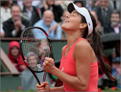 Ana Ivanovic breathes easier after finishing off Patty Schnyder in straight sets to reach the semifinals at Roland Garros.