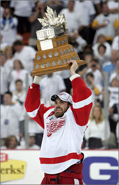 The Red Wings' Henrik Zetterberg was named the Conn Smythe Trophy winner as playoff MVP. The Swedish-born player was the postseason leader with 27 points and 13 goals.