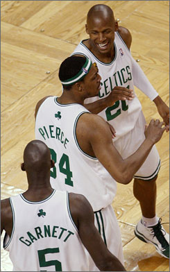 Paul Pierce, along with Ray Allen and Kevin Garnett, was unstoppable against the Lakers in Game 1 of the NBA Finals.