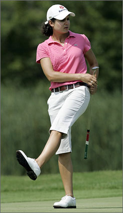 Lorena Ochoa reacts to her birdie putt at the 18th hole of the LPGA Championship on Thursday.