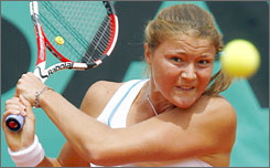 In an all-Russian duel, Dinara Safina returns to Svetlana Kuznetsova at the French Open. Safina won in straight sets to earn a shot at her first major championship.