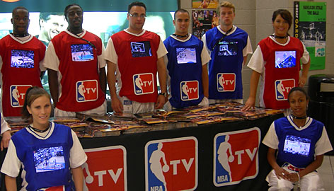 NBATV employees walked around TD Banknorth Garden promoting their product with four-pound TVs that were strapped to their shoulders and sewn into T-shirts.