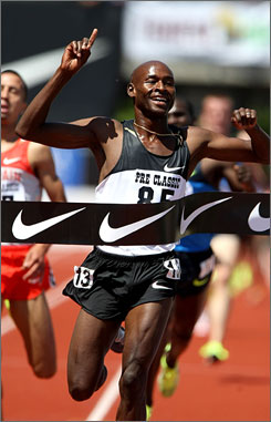 Bernard Lagat is all smiles after winning the two-mile race at the Prefontaine Classic in 8 minutes, 12.45 seconds.