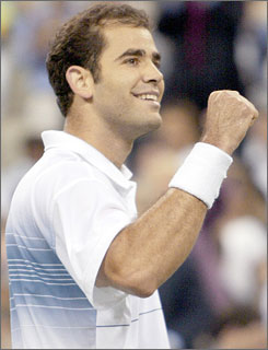 Tennis great Pete Sampras celebrates at the U.S. Open in 2002. Almost six years after his final tournament, Sampras is releasing his memoirs detailing life beyond the tennis racket.