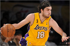 Lakers guard Sasha Vujacic scored 20 points off the bench in Game 3, including a key three-pointer with 1:53 remaining.