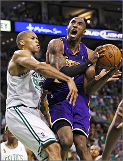 Although Kobe Bryant scored 22 points for the Lakers in Game 6 of the NBA Finals, he finished 7-of-22 shooting courtesy of P.J. Brown and the Celtics' defense.