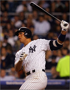 Alex Rodriguez watches his third-inning home run fly into the Yankee Stadium stands as New York improved to 39-33 this season.