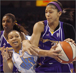 Sparks rookie Candace Parker has averaged 16.4 points, 9.6 rebounds, 4.3 assists and 2.2 blocks through the first 10 games of the season.