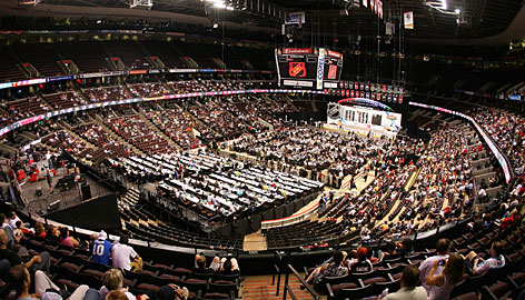 A general view of the scene at Scotiabank Place in Ottawa during the NHL Draft.