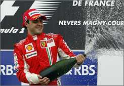 Felipe Massa celebrated his victory by giving out champagne baths after the French Grand Prix.