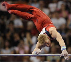 Justin Spring overcame two injuries in the past year to make the U.S. men's gymnastics team heading to the 2008 Olympics in Beijing.