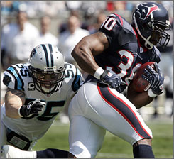 The Houston Texans are hoping running back Ahman Green will stay healthy this season to join QB Matt Schaub and wide receiver Andre Johnson in the starting lineup. The Texans finished 8-8 in 2007 and were unable to secure the franchise's first playoff berth.