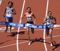 Torri Edwards, right, winner of the 100 meters at the Prefontaine Classic on June 8, leads a balanced women's field at the Olympic trials, which includes Prefontaine runners-up Allyson Felix, center, and Lauryn Williams.