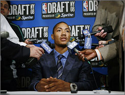 Highly touted point guard Derrick Rose fields questions on the eve of the NBA draft in New York.
