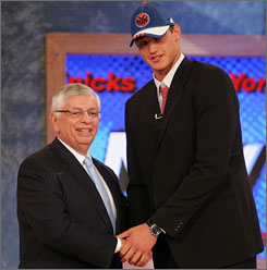Danilo Gallinari shakes hands with NBA commissioner David Stern after going sixth to the Knicks, a pick that didn't go over so well with the Big Apple fans.