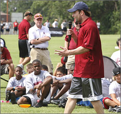 "Wes Welker, shown at a youth football camp on Friday, said the Super Bowl XLII loss to the Giants was ""like a dagger to the heart."""