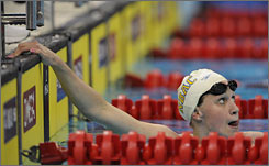 """Katie Hoff, a Baltimore native, """"has been lighting it up in every event,"""" said Mark Schubert, USA Swimming's national team coach."""