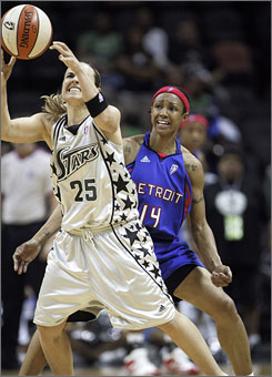 After losing to the Houston Comets in overtime one week ago, Becky Hammon and the San Antonio Silver Stars triumphed over the Detroit Shock 79-72 in overtime on Tuesday.