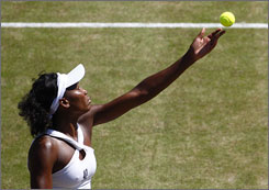 Venus Williams is still on track to defend her Wimbledon crown and will face Elena Dementieva in the semifinals on Thursday to secure a spot in the title match.