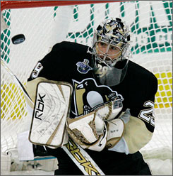 Goaltender Marc-Andre Fleury led the Pittsburgh Penguins to the Eastern Conference title this past season.