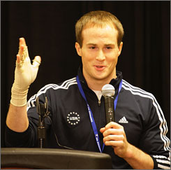 A borken hand suffered at the U.S. national championships in May kept Olympic gold medalist Paul Hamm from competing in the Olympic Trials last month.