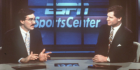 In 1995, Keith Olbermann, left, teamed with Dan Patrick on the ESPN anchor desk. The pair will share NBC's stage again during the 2008 NFL season.
