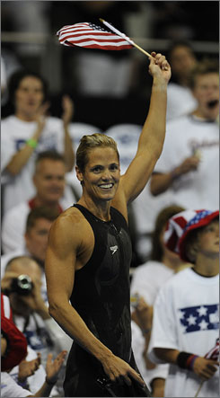 Dara Torres celebrates her win in the finals of the 100 meter freestyle at the U.S. Olympic trials.