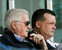 Because of failing health, George Steinbrenner has passed control of the Yankees' baseball operations to his son, Hank, right. Another son, Hal, runs the club's business side.