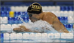 Eric Shanteau swims toward a Beijing berth in the 200-meter breaststroke at the Olympic trials in Omaha.