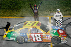 Kyle Busch celebrates his seventh NASCAR Sprint Cup victory after completing a weekend sweep at Chicagoland Speedway.