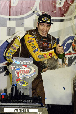 "Although Kyle Busch sprayed the champagne after winning Saturday's LifeLock.com 400, the Sprint Cup points leader thought it was ""race over"" for him with 16 laps left after yielding the lead to Jimmie Johnson."