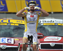 Riccardo Ricco enjoys the final moments of his second stage victory in the Tour de France.