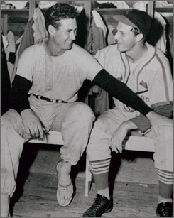 Stan Musial, right, and Ted Williams shared a laugh in Florida during spring training of 1947. The superstars, who were known for their hitting, each took one turn as a pitcher during their careers.