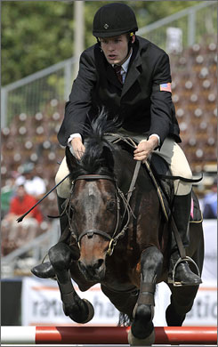 Sam Sacksen competes in the riding phase of the modern pentathlon at the world championships in June.