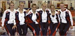 From left to right, Chellsie Memmel, Nastia Liukin, Alicia Sacramone, Samantha Peszek, Shawn Johnson and Bridget Sloan will travel to Beijing as one of the most talented gymnastics teams since the Magnificent Seven in 1996.