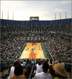 The first outdoor WNBA game, played July 19 at the Arthur Ashe Stadium in Flushing Meadows, N.Y., drew 19,393, with the Indiana Fever defeating the New York Liberty 71-55.