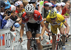 Franck Schleck rides ahead of Cadel Evans during Stage 15 of the Tour de France.