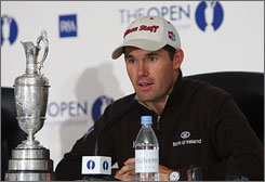 Padraig Harrington of Ireland meets the press Monday morning at Royal Birkdale after his second consecutive British Open triumph.